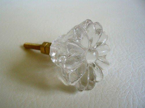 Clear Glass Crystal Daisy Dresser Drawer Pulls Cabinet Knobs Retro-Dwyer Home Collection