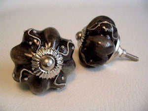 Unique Embossed Soft Black Porcelain Drawer Pulls Cabinet Knobs-Dwyer Home Collection