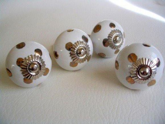 Bronze Polka Dots Soft White Porcelain Drawer Pulls Cabinet Knobs Set of 4-Dwyer Home Collection