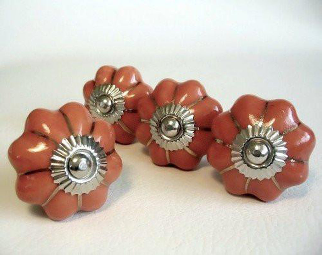 Pumpkin Porcelain Cabinet Knobs Drawer Pulls Gold Accents Set of 4-Dwyer Home Collection
