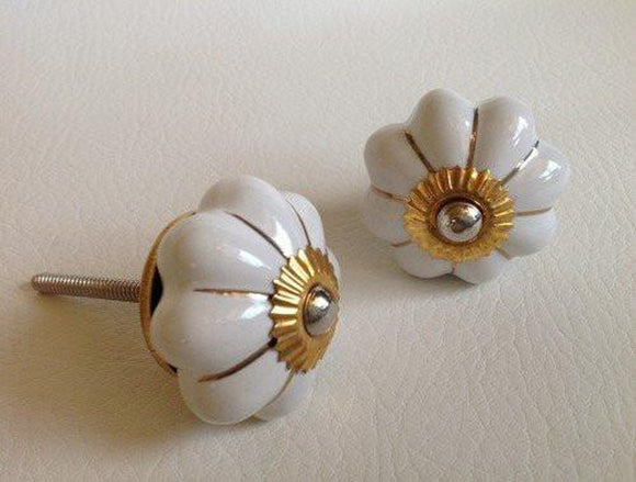Soft White Porcelain Cabinet Knobs Drawer Pulls Gold Accents 1.75 Inch-Dwyer Home Collection