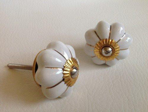 Soft White Porcelain Cabinet Knobs Drawer Pulls Gold Accents-Dwyer Home Collection