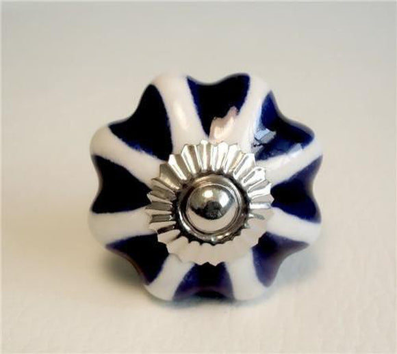 Royal Blue Hearts On White Porcelain Cabinet Knobs Drawer Pulls-Dwyer Home Collection