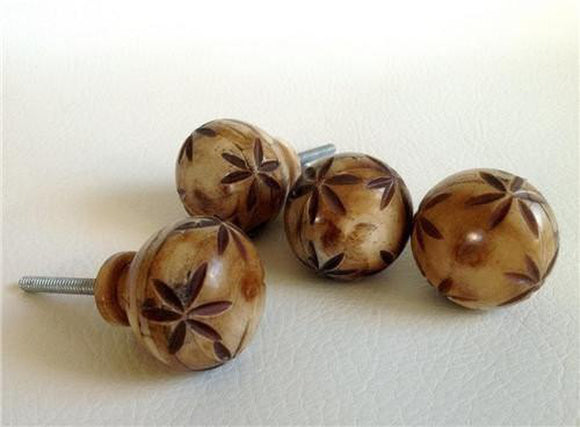 4 Rustic Natural Carved Bone Cabinet Knobs Dresser Drawer Pulls-Dwyer Home Collection