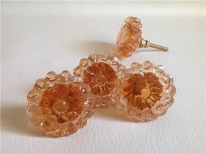 Peach Glass Flower Cabinet Knobs Pulls Vintage Style Set of 8 (s)-Dwyer Home Collection