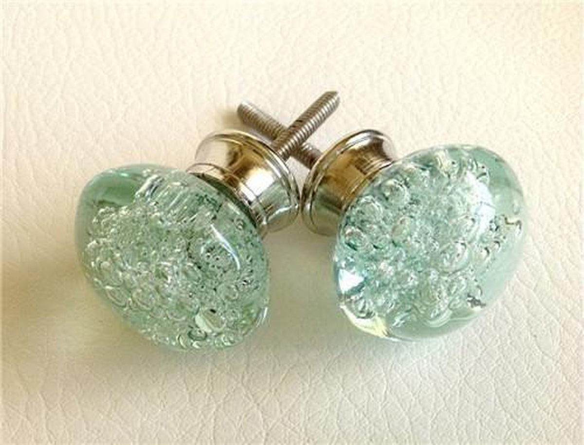 Mint Green Sea Glass Bubble Cabinet Knobs Dresser Drawer