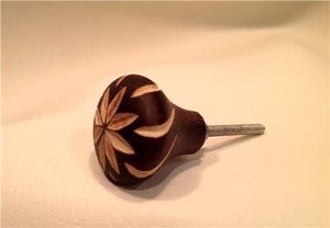 Cut Flower Hand Carved Wood Cabinet Knobs Dresser Drawer Pulls-Dwyer Home Collection