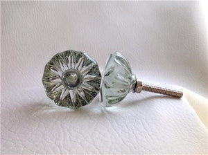 "Antique Vintage Style Clear Glass Crystal Cabinet Knobs Dresser Drawer Pulls 1-3/8""-Dwyer Home Collection"