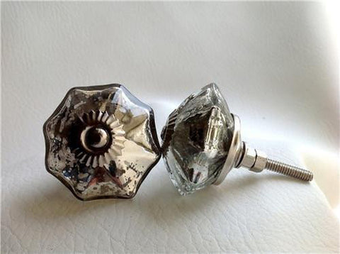 Antique Style Vintage Silver Mercury Glass Cabinet Knobs Drawer Pulls-Dwyer Home Collection