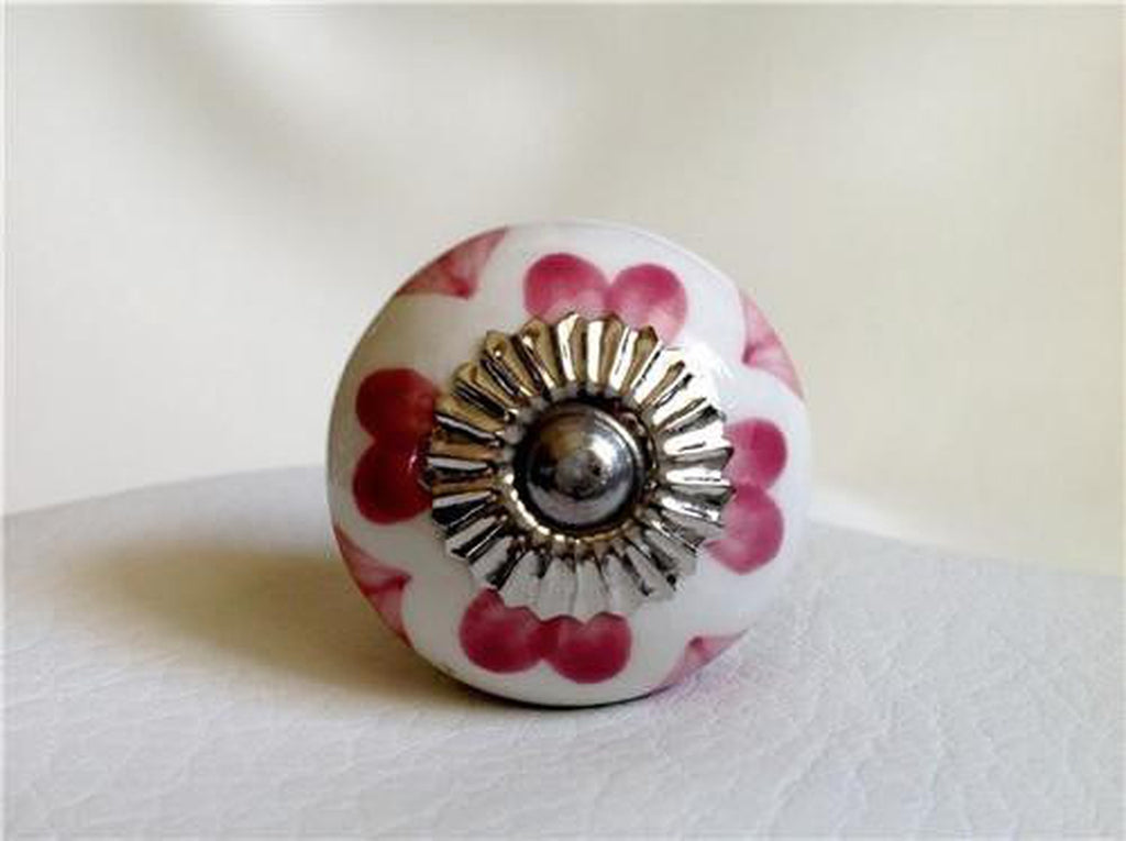 Raspberry Pink Hearts on White Porcelain Cabinet Knobs Drawer Pulls-Dwyer Home Collection
