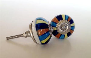 Colorful Blue Mixed Stripes on Porcelain Cabinet Knobs Drawer Pulls-Dwyer Home Collection