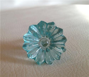 Soft Aqua Blue Daisy Glass Crystal Cabinet Knobs Drawer Pulls-Dwyer Home Collection