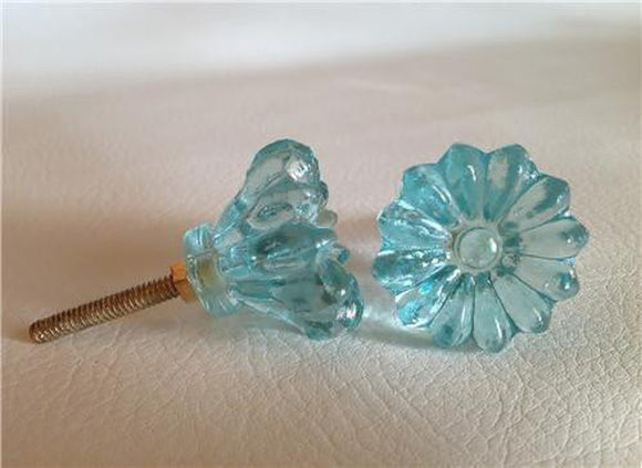 Soft Aqua Blue Daisy Glass Cabinet Knobs Dresser Drawer Pulls (s)-Dwyer Home Collection