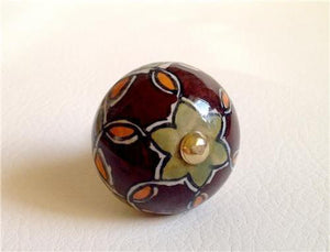 Green and Brown Handpainted Rangoli Design on Cream Porcelain Cabinet Knobs Pulls-Dwyer Home Collection