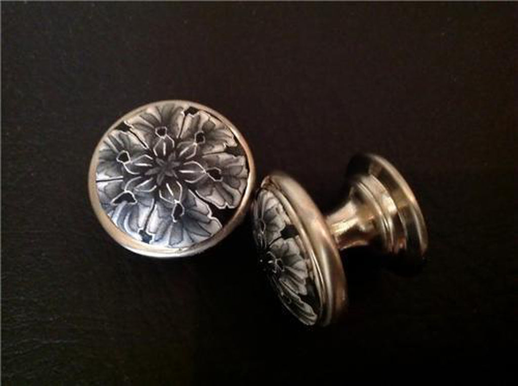 Pair of Soft Black and White Floral Cabinet Knobs Pulls with Nickel Finish-Dwyer Home Collection