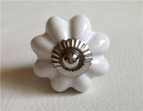 Classic White Porcelain Flower Cabinet Knobs Dresser Drawer Pulls-Dwyer Home Collection