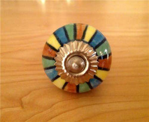 Colorful Mixed Stripes on Porcelain Cabinet Knobs Dresser Drawer Pulls-Dwyer Home Collection