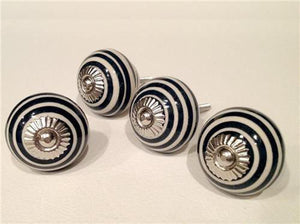 Black Spiral on Cream Porcelain Cabinet Knobs Pulls Set of 4-Dwyer Home Collection