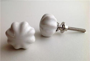 Small Scalloped White Mini Porcelain Cabinet Knobs Drawer Pulls-Dwyer Home Collection