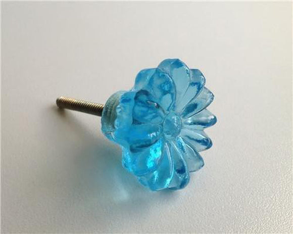 Aqua Blue Daisy Glass Cabinet Knobs Dresser Drawer Pulls-Dwyer Home Collection