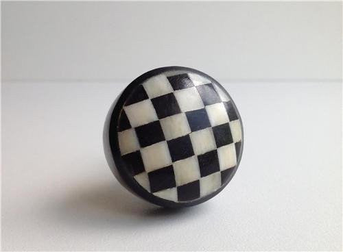 Black and White Checks on Bone Resin Cabinet Knobs Dresser Drawer Pulls Discounted-Dwyer Home Collection