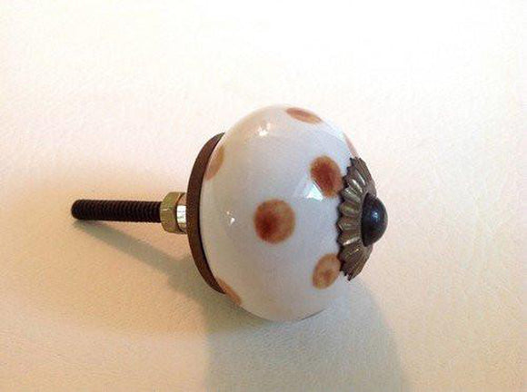 Caramel Polka Dot Porcelain Cabinet Knobs Dresser Drawer Pulls-Dwyer Home Collection