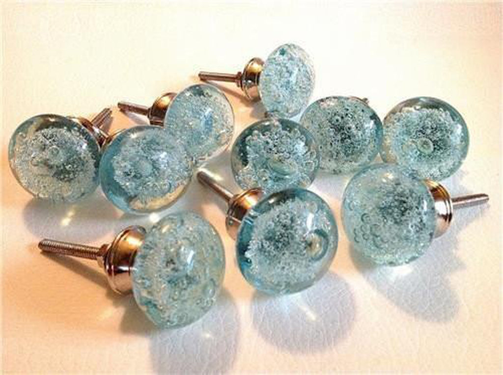 Aqua Blue Glass Bubble Cabinet Knobs Drawer Pulls Coastal Seconds Lot of 10-Dwyer Home Collection
