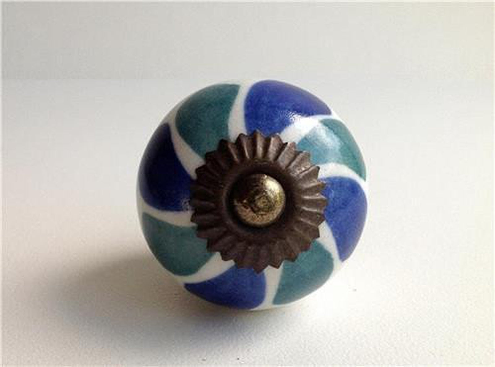 Teal And Blue Green On White Porcelain Cabinet Knobs Or