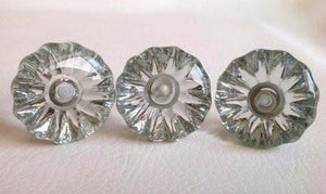 "Antique Vintage Style Clear Glass Cabinet Knobs Pulls 1-3/8"" (s)-Dwyer Home Collection"