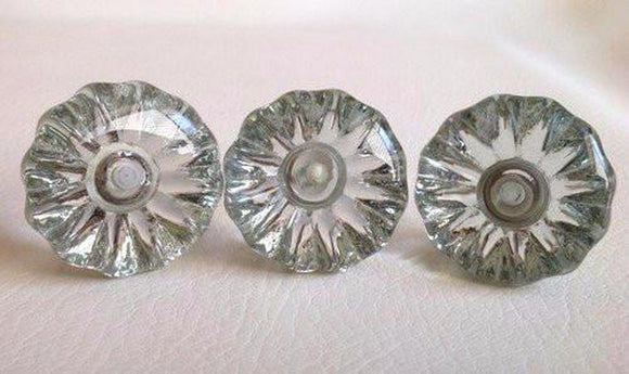 Antique Vintage Style Clear Glass Cabinet Knobs Pulls 1-3/8