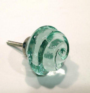 Chic Shabby Mint Green Glass Swirl Cabinet Knobs Dresser Drawer Pulls-Dwyer Home Collection