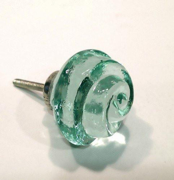 Chic Shabby Mint Green Glass Swirl Cabinet Knobs Drawer Pulls (s)-Dwyer Home Collection