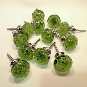 Green Glass Bubble Cabinet Knobs Lot of 12 (s)-Dwyer Home Collection