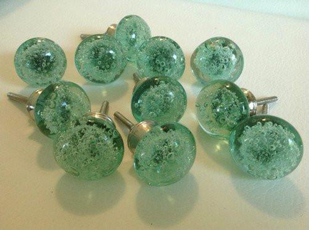 Mint Green Sea Glass Bubble Cabinet Knobs Drawer Pulls Lot of 10-Dwyer Home Collection