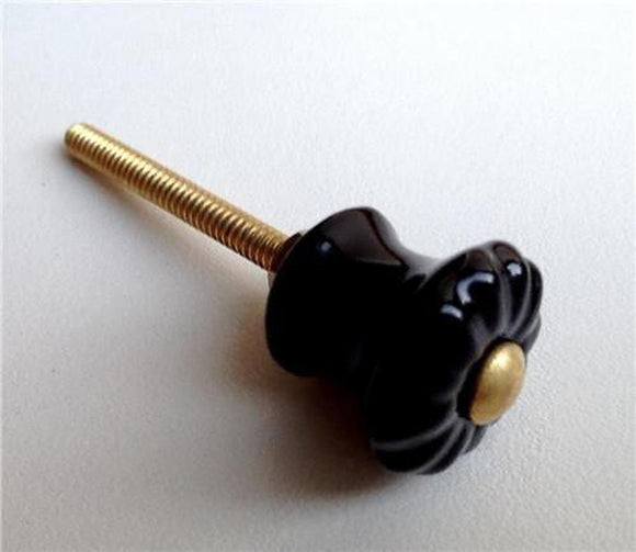 Small Black Porcelain Cabinet Knobs Mini Drawer Pulls 7/8