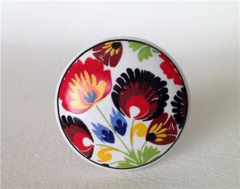 Colorful Flowers on White Porcelain Cabinet Knobs Dresser Drawer Pulls-Dwyer Home Collection