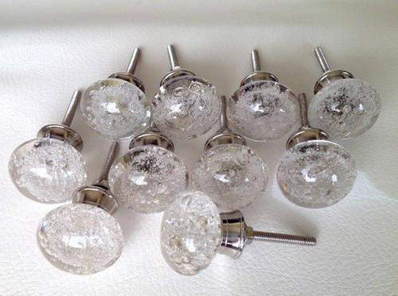 Clear Glass Bubble Cabinet Knobs Dresser Drawer Pulls Lot of 10 (s)-Dwyer Home Collection