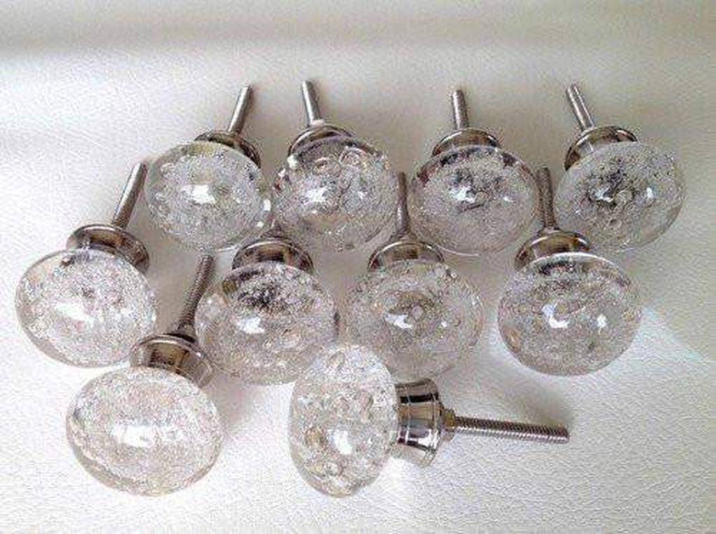 Clear Glass Bubble Cabinet Knobs Dresser Drawer Pulls Lot of (12)-Dwyer Home Collection