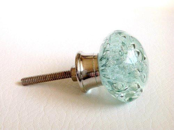 Aqua Blue Glass Bubble Cabinet Knobs Dresser Drawer Pulls Mfg. Seconds Coastal-Dwyer Home Collection
