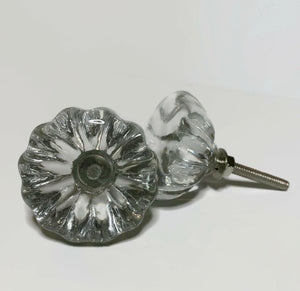 Antique Vintage Style Clear Glass Cabinet Knobs 1.5-Inch Pulls-Dwyer Home Collection