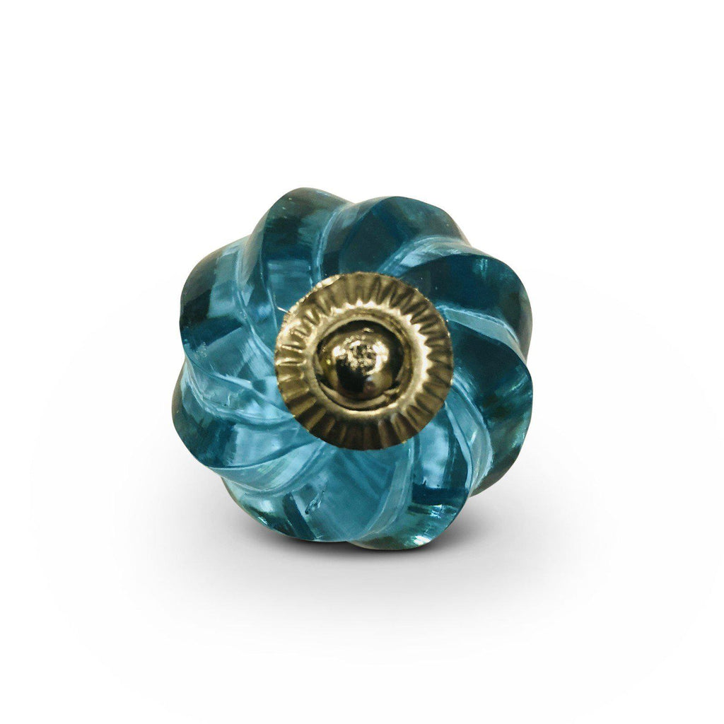 Aqua Blue Glass Beveled Swirl Cabinet Knobs Dresser Drawer Pulls-Dwyer Home Collection