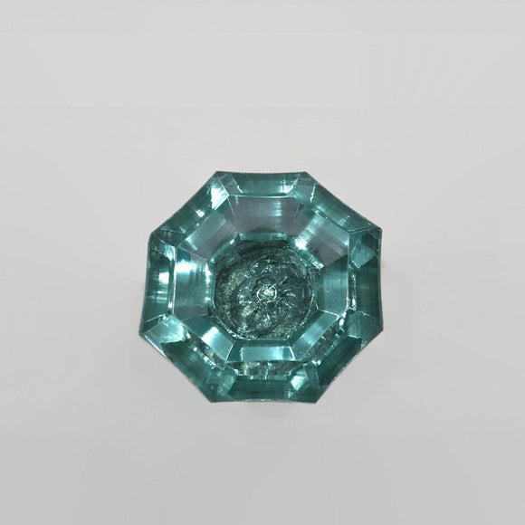 Aqua Hexagon Glass Crystal Cabinet Knobs Drawer Pulls (s)-Dwyer Home Collection
