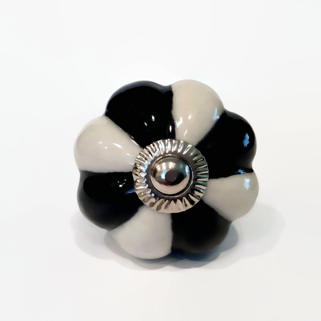 Black and White Porcelain Cabinet Knobs Dresser Drawer Furniture Pulls-Dwyer Home Collection