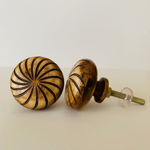 Swirl Design On Carved Bone Cabinet Knobs Dresser Drawer Pulls 1.5 Inch-Dwyer Home Collection