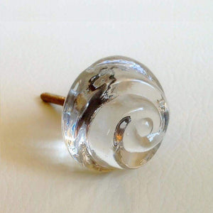 "Chic Shabby Clear Glass Swirl Cabinet Knobs Dresser Drawer Pulls 1.5""-Dwyer Home Collection"