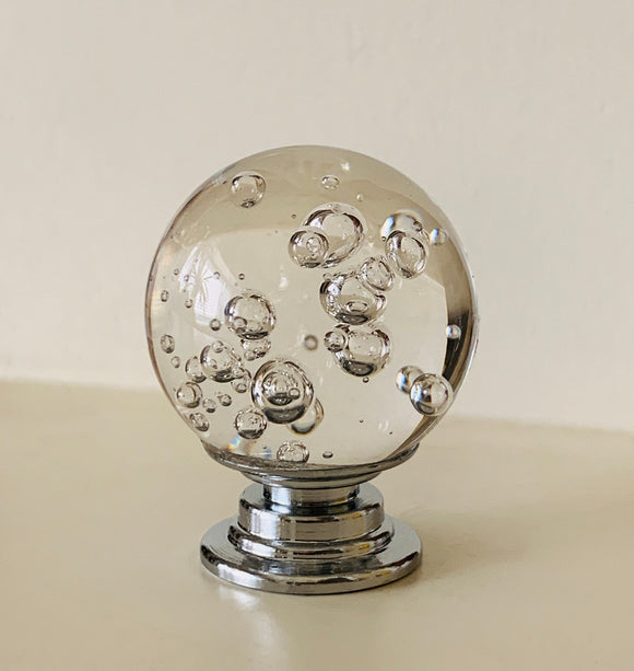 Clear Glass Bubble 1 Inch Cabinet Knobs Furniture Drawer Pulls-Dwyer Home Collection