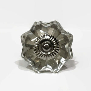 Clear Glass Flower Cabinet Knobs Dresser Drawer Pulls-Dwyer Home Collection