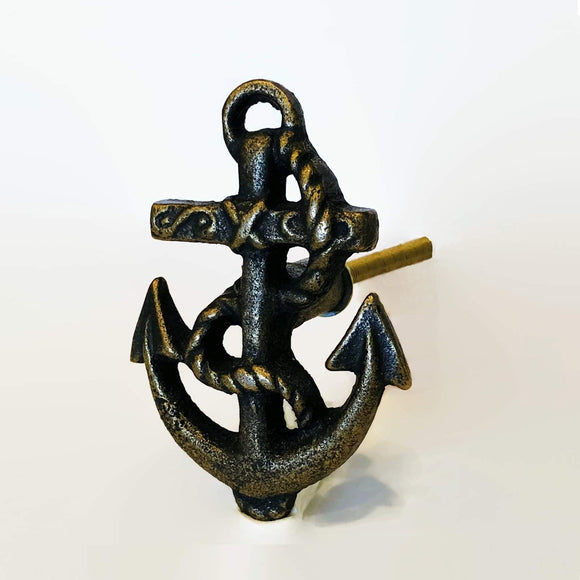 Coastal Brass Anchor Cabinet Knob Nautical Dresser Drawer Pull-Dwyer Home Collection