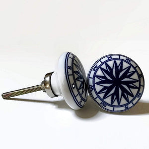 Compass Nautical Porcelain Cabinet Knobs Drawer Pulls-Dwyer Home Collection