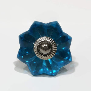 Turquoise Blue Glass Flower Cabinet Knobs Dresser Drawer Pulls-Dwyer Home Collection